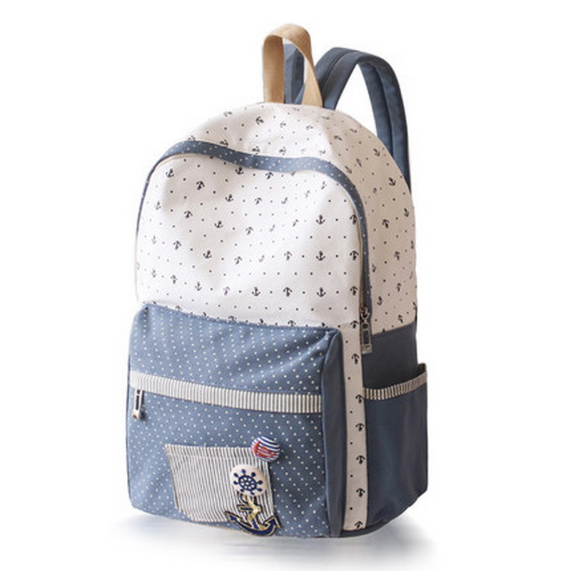 Japan and Korean Style Backpacks for Women Cute Cotton Dotted Printed School Bags for Teenager Girl Students XB452(China (Mainland))
