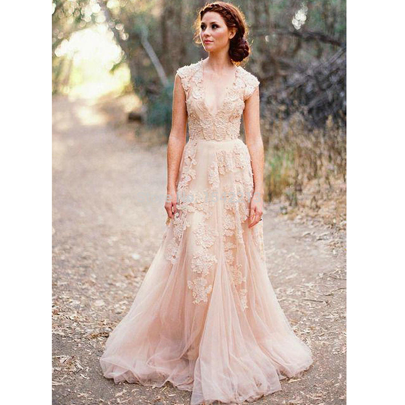 Images Of Blush Wedding Dresses : Buy blush lace wedding dresses a line bridal gowns