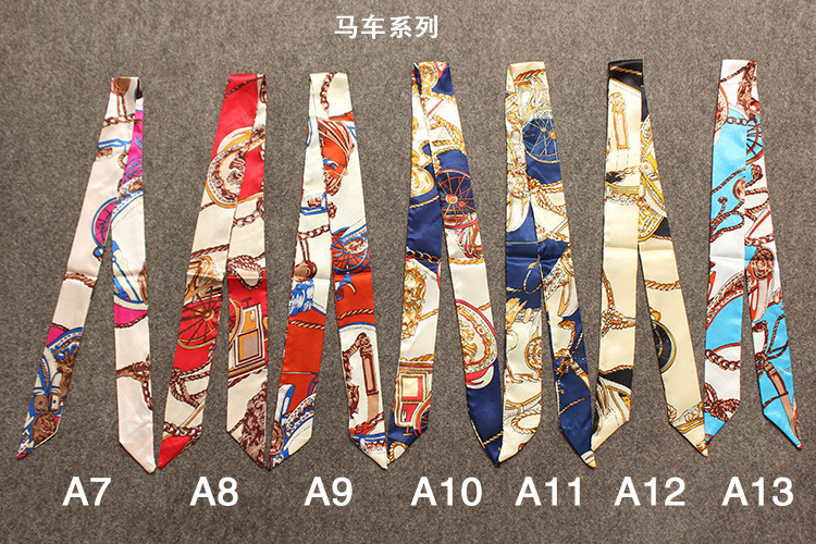 13 Color Cheap Head Scarves Small Ribbon Hair Band Turban Cachecol Feminino Brand Handle Women Wholesale Silk Twilly Bag Scarf(China (Mainland))