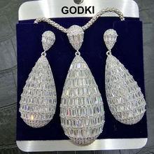 GODKI יוקרה מים זרוק מעוקב זירקון ניגרי שרשרת עגיל נשים חתונה הודי דובאי כלה תכשיטי סטים(China)