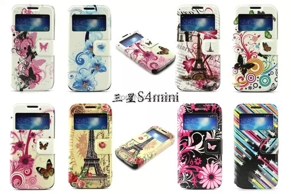 Case Samsung Galaxy S4 mini i9190 Open Window Butterfly Heart Flag Lotus Stars Leather Phone Cases Bags Shell Cover S4mini - World store