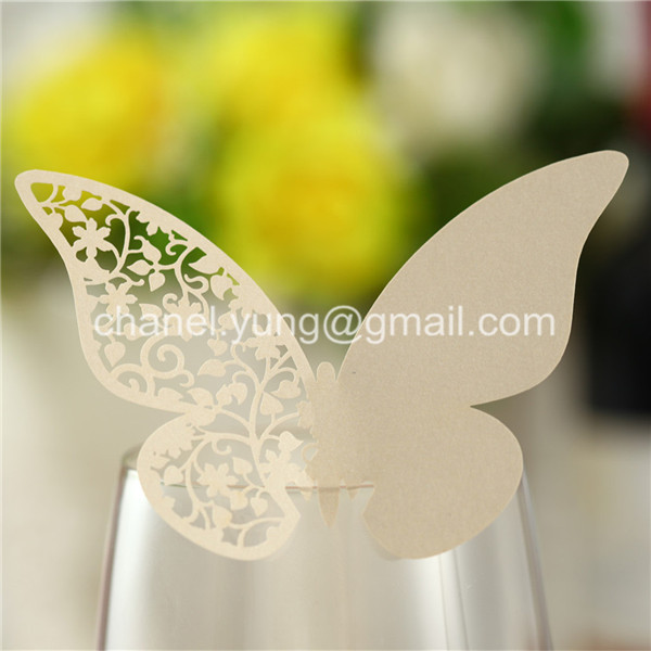 100pcs 2014 Laser Name Place Card Cup Paper Card Table Mark Wine Glass Wedding Favors Party Decoration Butterfly Wedding Decor(China (Mainland))