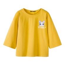 SEMIR Frauen 100% Baumwolle 3/4 Länge Hülse Crewneck Shirt mit Kaninchen Stickerei Frauen Breite Hülse Hemd Entspannen Fit Casual Style(China)