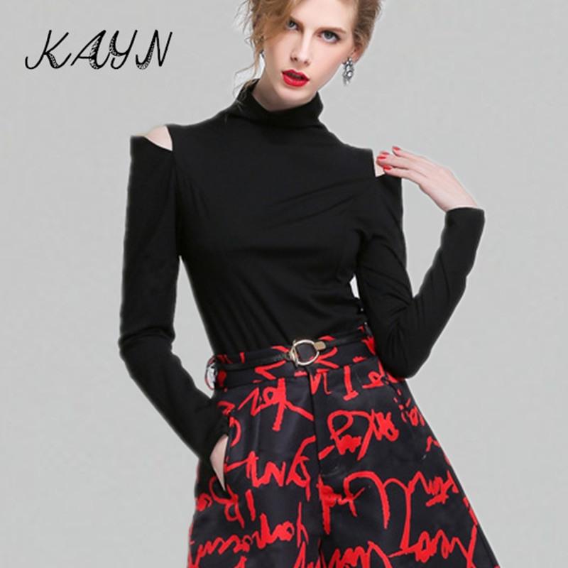 Brand Womens Tops Fashion 2015 Autumn Winter Tee Shirt Female Long Sleeve Turtleneck T-Shirts Warm Clothing - KAYN Boutique Women store
