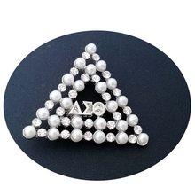 Huruf Yunani DELTA SIGMA Theta Merah Putih Mutiara AEO Dst Bros Kerah Pin Perhiasan(China)