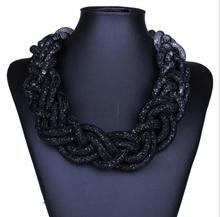2015 New Arrival Fashion Statement Good Quality Crystal Rope Clain Collar Jewlery 9815
