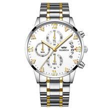 OLMECA hommes d'affaires montres Top marque de luxe chronographe montres en acier bleu or montre à quartz décontractée Relogio Masculino(China)