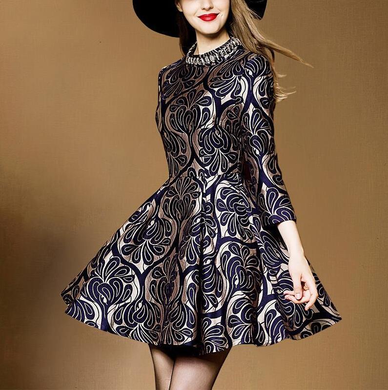 Elegant Jacquard Dresses New 2015 Autumn Women Vintage Dress Vestido De Festa Curto Desigual Vestidos Plus Size Casual Body Robe