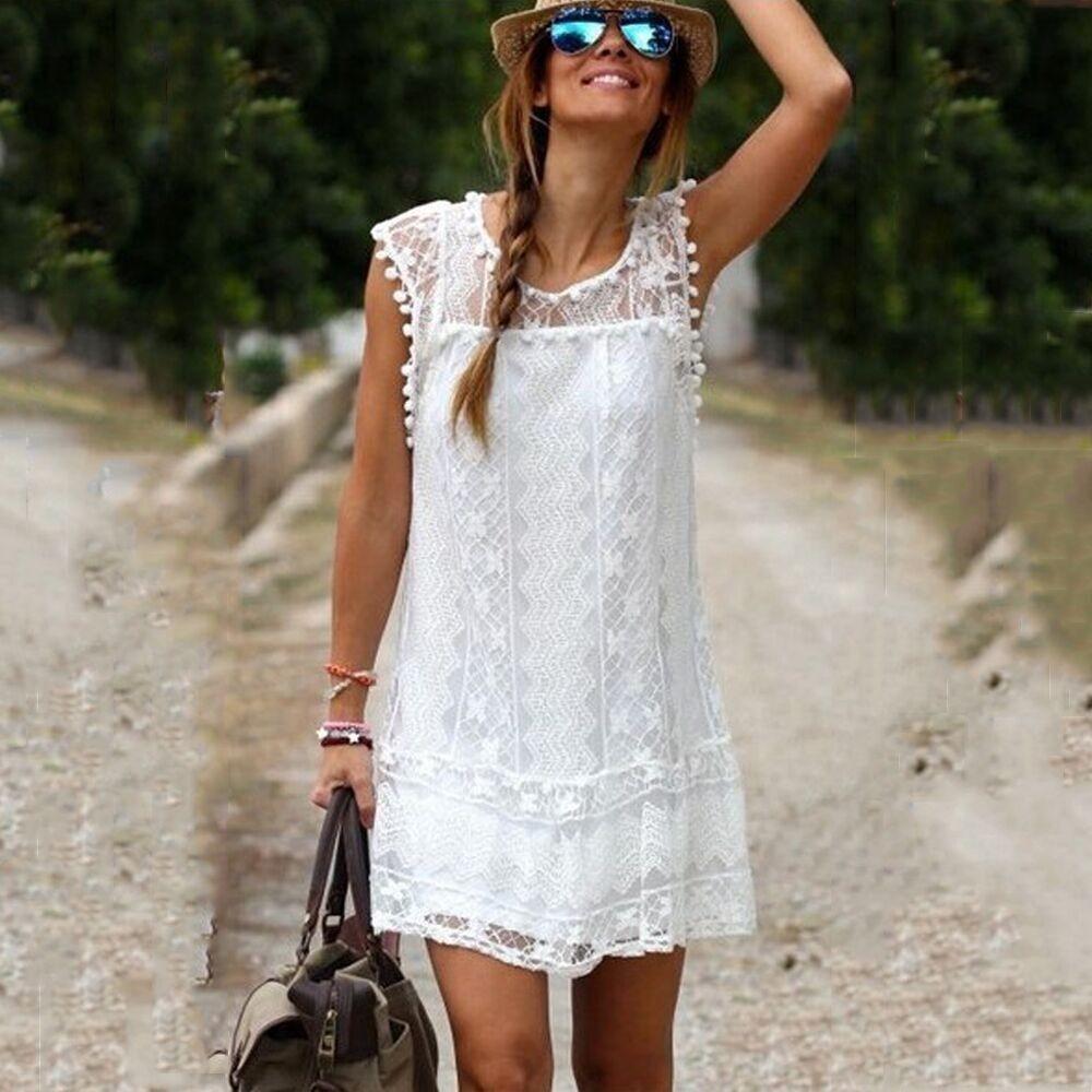 Vestidos 2016 Summer Women Casual Short Sleeve Slim Lace Mini Dress Tops Ladies Sexy Black White Plus Size robe femme - Maternity & Babys Heaven store