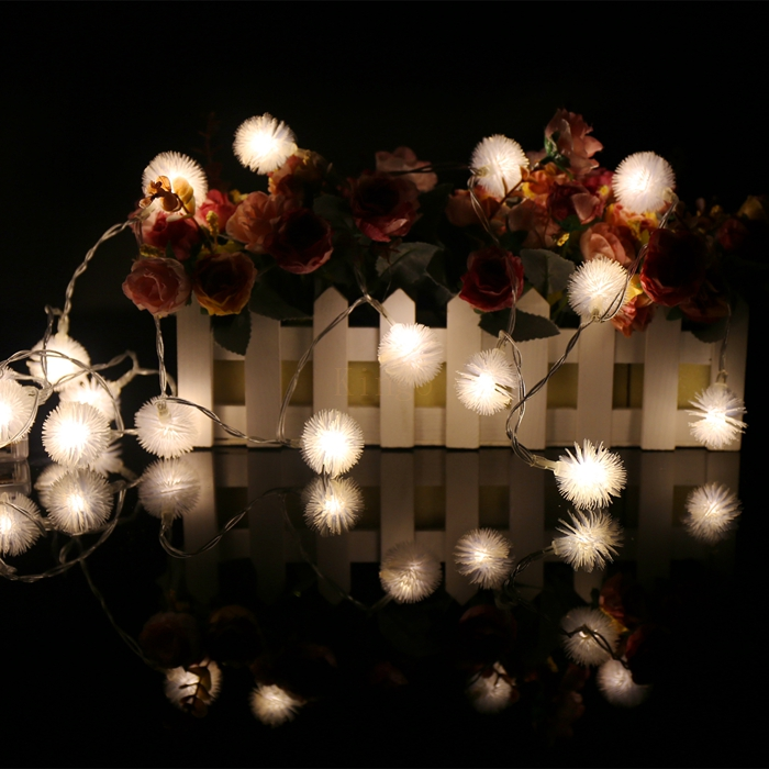 New 2M 20 LED Snow ball shape String Lights for Xmas Garland Party Wedding Decoration 3AA battery Operated Flasher Fairy Lights(China (Mainland))