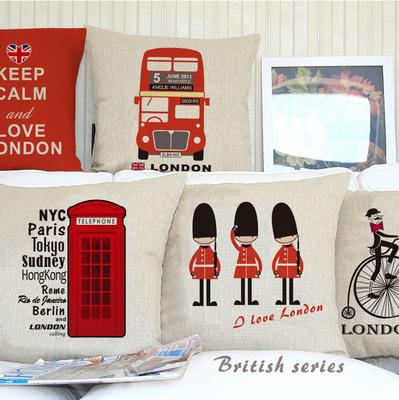 45x45cm UK London phone booth bus models linen cushion cover London for sofa car decorative almofadas cojines decorative pillows(China (Mainland))