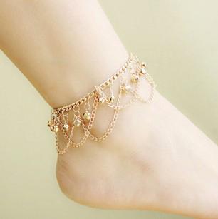 Оптовая продажа 18 К позолоченные шарм белл браслеты для женщин лодыжки браслет цепи ...