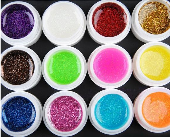 one piece 12 Color Flash powder Glitter UV Nail Gel Acrylic Polish styling nail tools makeup gel nail polish nails art M670(China (Mainland))
