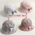 New Fashion Double Sided Summer Baby Hat Baby Floral Bows Turn Motion Along Baby Cap