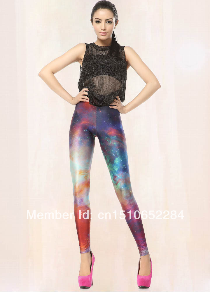 Colorful Galaxy Nebula Design Space Print Leggings Outfit Free Shipping Worldwide P30XDK052-in ...