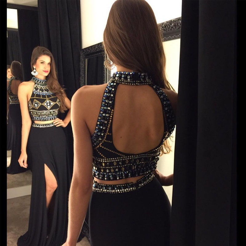 Mermaid Two Peices Evening Dresses 2016 New Beads Crystal Black Long Chiffon Formal Prom Gowns