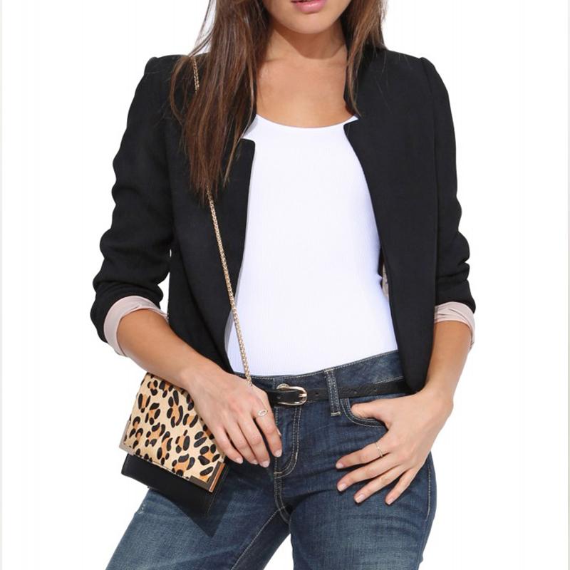 Женщины дизайн весна / осень приталенный короткая пиджак костюм женское свободного покроя пиджак E3474