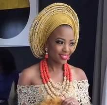 יוקרה ניגרי חרוזים תכשיטי סט מסורתי אפריקאי חתונה כלה הצהרת שרשרת סט דובאי משלוח חינם CNR819(China)