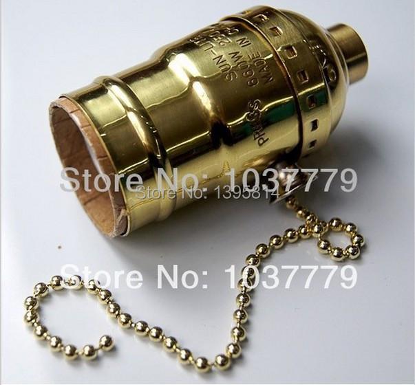 30pcs/lot lightbulb fittings chain switch E27 gold aluminum pendant lamp holders(China (Mainland))