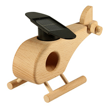 New Wooden Solar Power Air Plane Propeller Rotating Decoration Craft Toy Xmas Gift(China (Mainland))