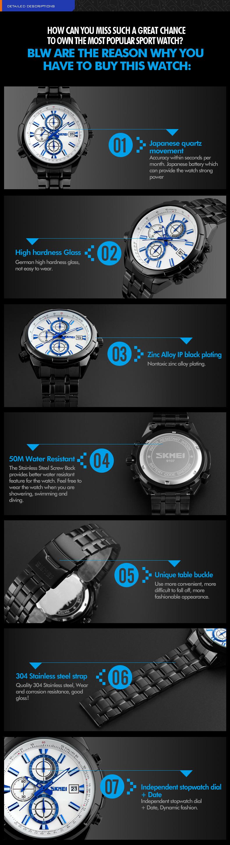 Мода Кварцевые Часы Мужчины Из Нержавеющей Стали Аналогового Дата Секундомер Водонепроницаемый Бизнес Кварцевые Часы Мужчина часы