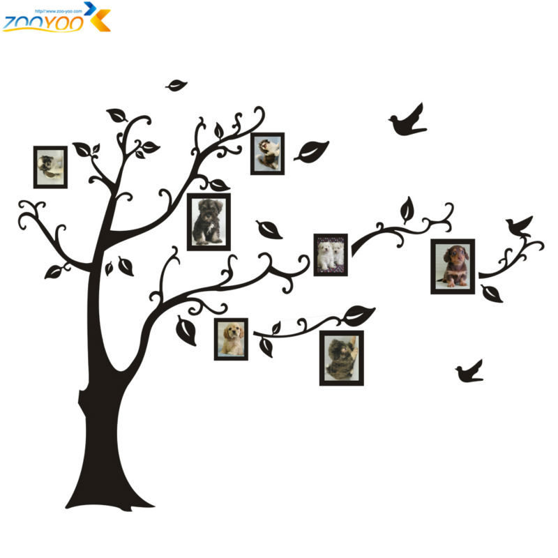 free shipping photo frame tree wall stickers zooyoo2141 kids room wall arts home decorations living room wall decals(China (Mainland))