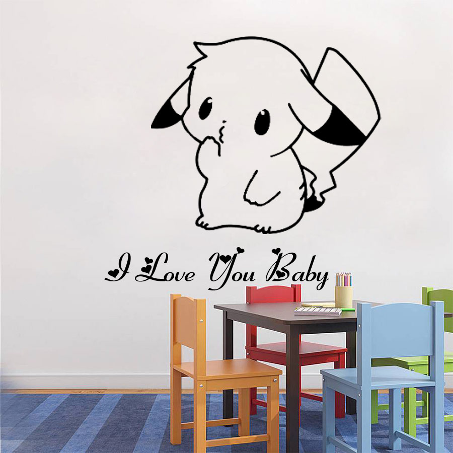 50 40cm cute pokemon pikachu mural decals decor home for Diy photo wall mural