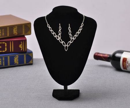 2015 New Arrival Fashion Rhinestone Pendants & Necklaces Jewelry 2 pc Set For Women wedding Jewelry Sets Wholesale Silver hot(China (Mainland))