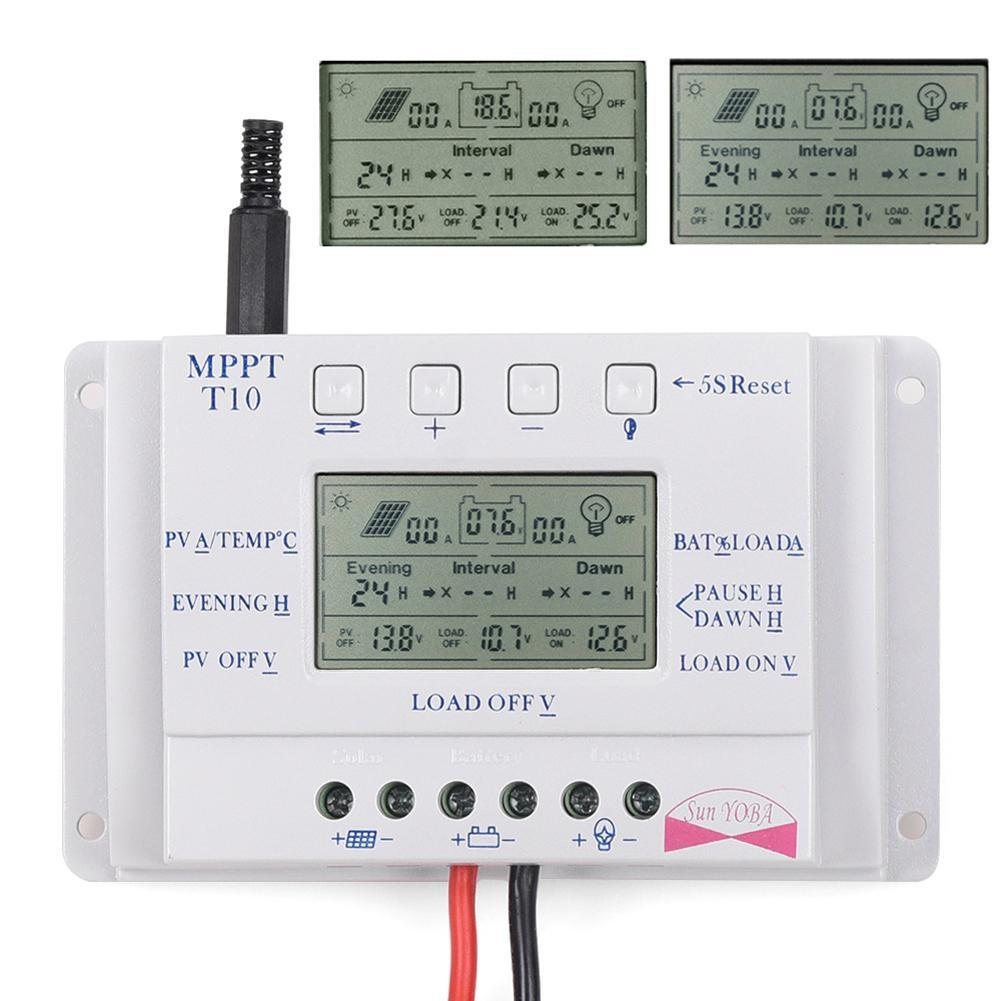 LCD 10A 12V/24V MPPT Solar Panel Battery Regulator Charge Controller Three-time interval APJ(China (Mainland))