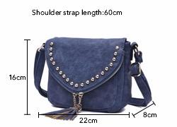 Stylish Rivet Cute Tassels Ladies Saddle Bag Nubuck Leather Fashion Small Crossbody Bag Retro Women Designer PU Shoulder Bag