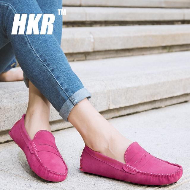 HKR 2016 весна женщин балетки женская обувь скольжения на балетки замшевые мокасины ...