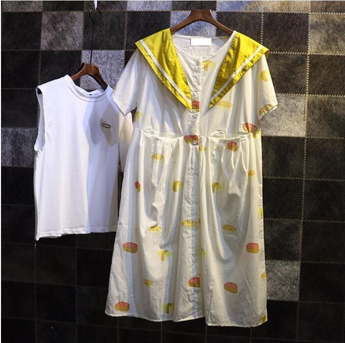 2016 summer new Korean Women systemic small cake removable printing lapel short-sleeved dress women(China (Mainland))