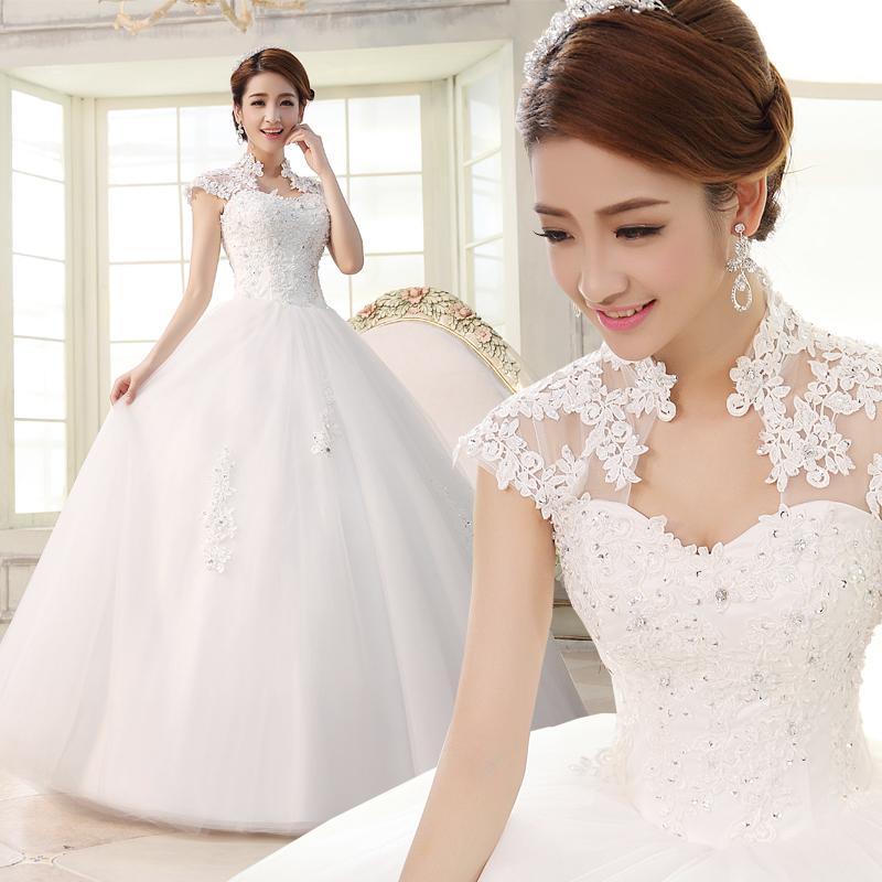 2015 Wedding Formal Dress Slim Slit Neckline Bag Lace