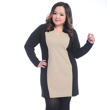 Plus size spring one-piece dress elegant colorant match long design 667(China (Mainland))