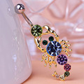 Favour Lotus 2015 Hot Rhinestone Scorpion Belly Button Rings Navel Bar Gold Dangle Body Jewelry Piercings