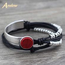 Anslow Feminino Merek Gelang Vintage Retro Gaya Kulit Bracelete untuk Wanita Gelang Persahabatan Hari Ibu Hadiah LOW0491LB(China)