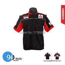 F1 Embroidery Team 90 Style Cotton Men's Motorcycle Short Sleeve Shirts for Mitsubishi Racing suits(China (Mainland))