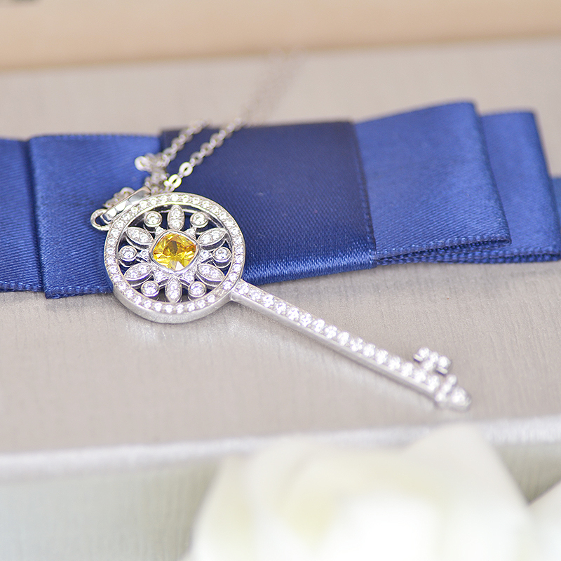 TF classic yellow mosaic zircon key necklace pendant for women S925 Sterling Silver Micro Pave CZ key necklace always popular(China (Mainland))