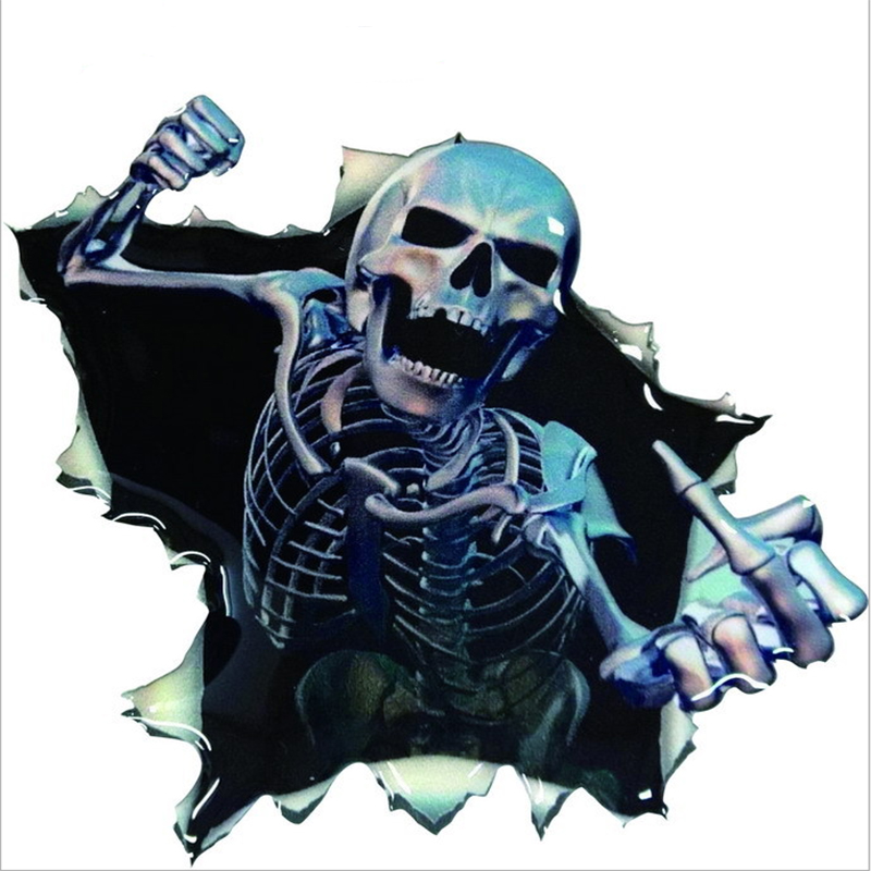New Funny Car Sticker Skull Car Hoods Trunk Thriller Rear Window Decal Car Decal Covers Waterproof Car Styling(China (Mainland))