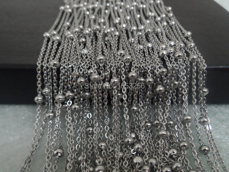 Lot 10 Meters Silver Stainless Steel Sheet With 4mm Beads Link Chain Jewelry Finding /Marking Chain in bulk(China (Mainland))