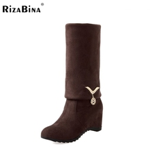 Buy ladies height increasing knee boots riding women snow long botas warm winter boot fashion footwear shoes P20410 size 34-40 for $26.48 in AliExpress store