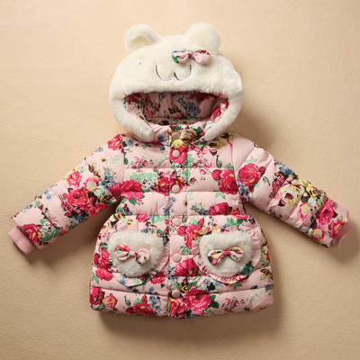 Floral Coat 2015 New Long Sleeve Children Girls Thick bow-knot Winter jacket ears dimensional hat - Mini Kids House store