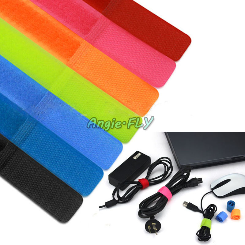 7 Colors! 50Pcs Velcro Cord Cables Ties Strap Wire Organiser Holder Rope Home Bag Office DIY Computer Wire PC TV(China (Mainland))