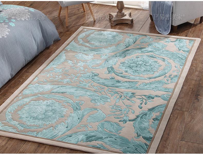 Romantic sea blue wedding carpet , 80% wool content living room ground mat 200*300cm, bedside rug home decoration carpet(China (Mainland))