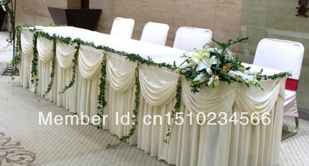 10ft l 29 h ice silk tablecloth wedding table skirt for 10 ft table cloth