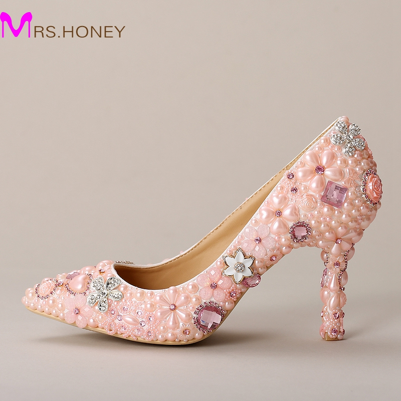 Pink Wedding Dress Shoes : Pink wedding shoes pointed toe formal dress pearl