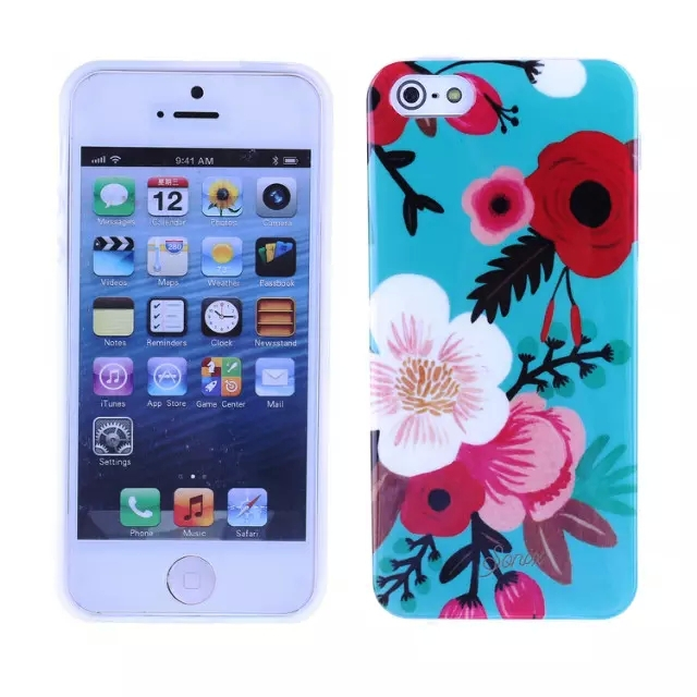 For iphoen 5/5s cell phone Flash IMD flower cartoon image soft mobile phone case cover New case(China (Mainland))