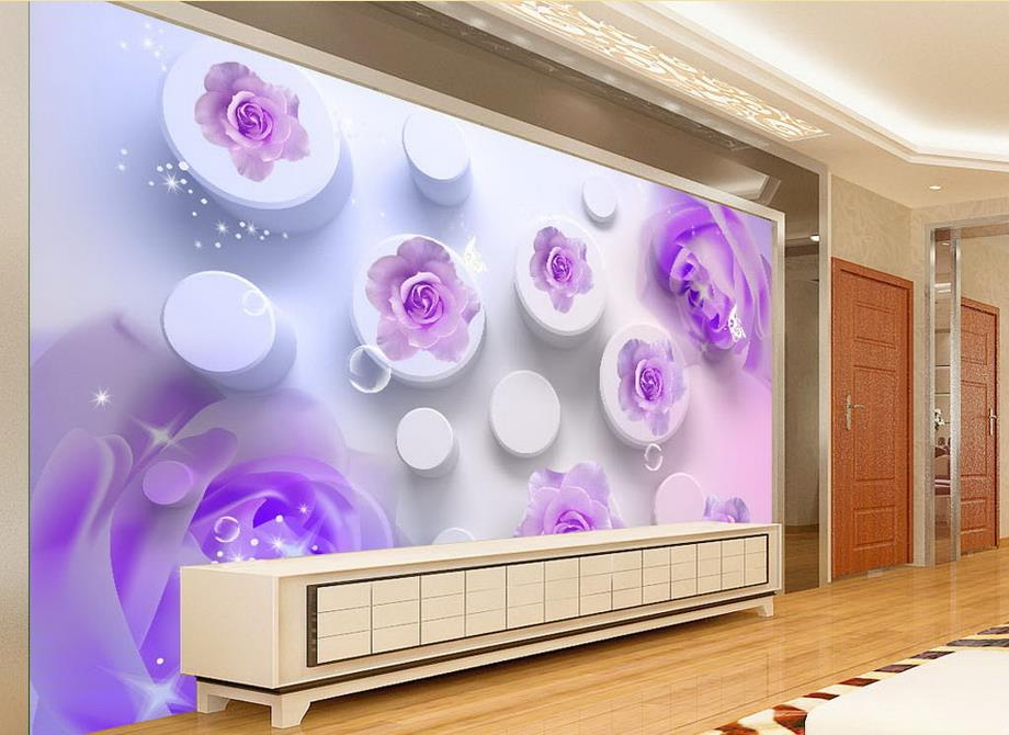 customized 3d wallpaper murals Pink and purple roses TV backdrop 3d wall paper for bathroom wall mural wallpaper(China (Mainland))
