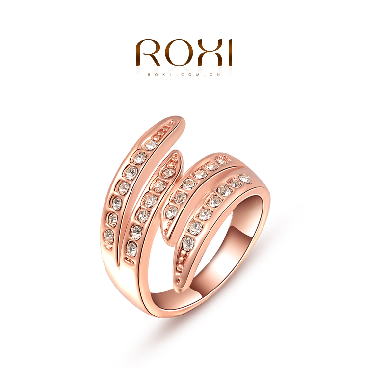 ROXI feather rings women rose gold plated wedding created crystal 3sizes freeshipping - international trading LTD ( and retail store)