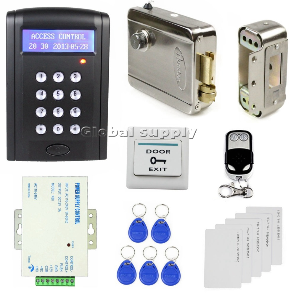 Remote Control RFID Keypad Door Access Control Security System Kit + Electronic Door Lock + Power Source B100(China (Mainland))